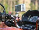 カメラマウント ハンドルバー等のパイプに挟み込むだけ!カメラスタンド 自転車・バイクにカメラを固定 (金属雲台)