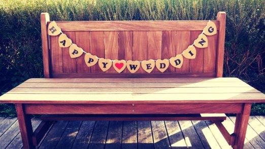 フォトプロップス ハートプレート(JUSTMARRIED)/(HAPPY WEDING) BROWN 結婚式・二次会・誕生日会 写真 小道具 ガーランド