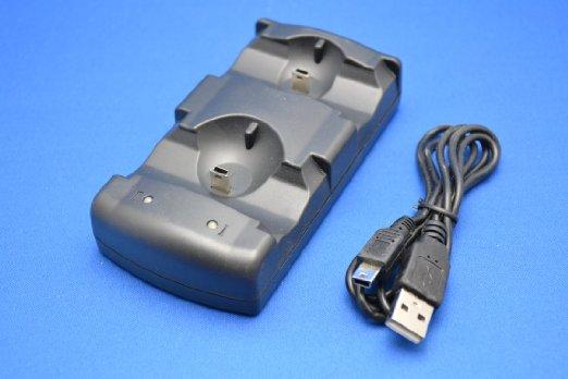 PS3 ワイヤレス コントローラ 充電器 2台同時充電対応 モーションコントローラ充電可能