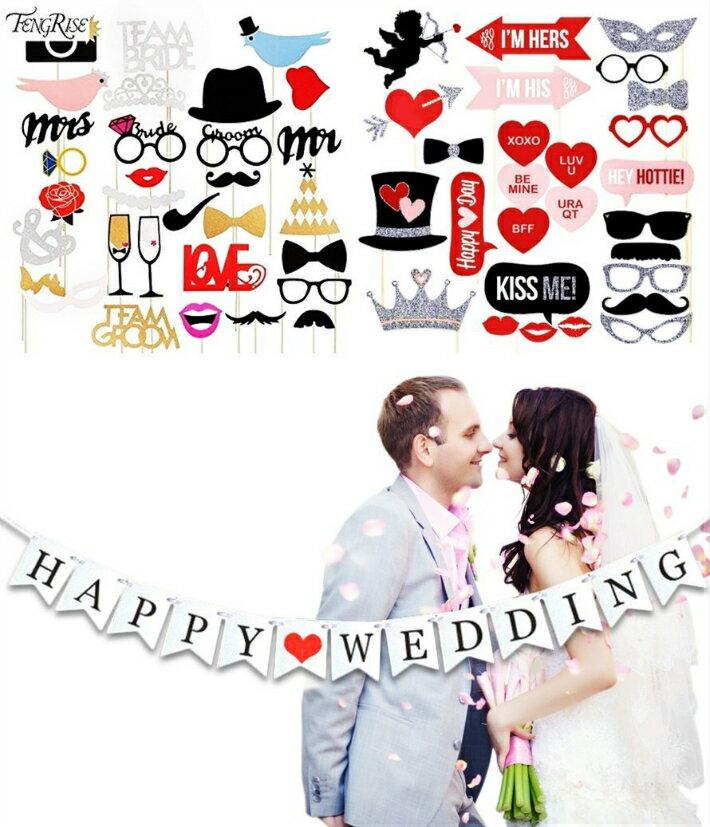 フォトプロップス 【58本】 結婚式 誕生日 写真撮影 (2組セット) 31点+27点のお得58点セット!
