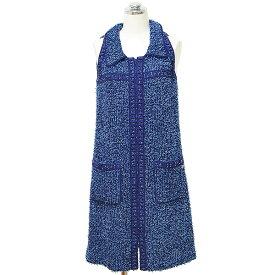 送料無料・返品可♪シャネル ツイード ワンピース ドレス #34 13P ノースリーブ ブルー A♪ レディース P45570【あす楽対応】【中古】