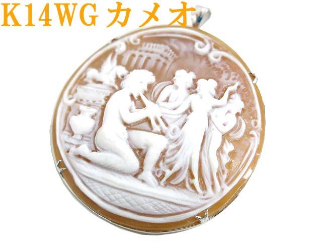 K14WG カメオ ブローチ ネックレストップ ペンダント 10.24g0654【中古】ジュエリー アクセサリー