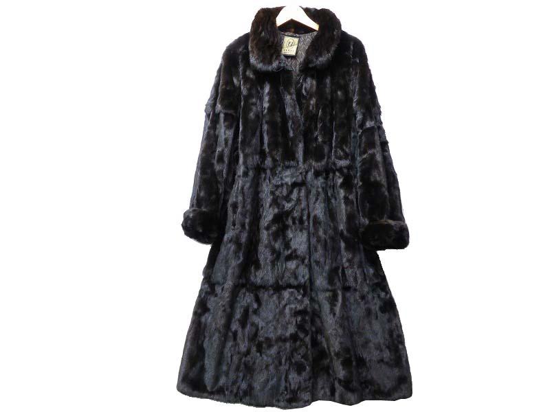 本物■フェンディ ミンク毛皮ロングコート ブラック黒☆0022【中古】FENDI アウター