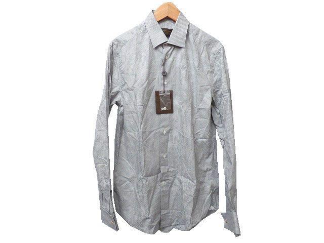 未使用 正規 ルイヴィトン チェック長袖シャツ 39 メンズ 0071【中古】LOUIS VUITTON