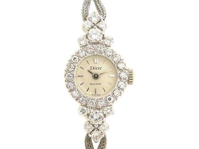 美品 ディオール ブローバ K14WG×ダイヤ レディース手巻き腕時計 0203【中古】Christian Dior BULOVA アンティーク ヴィンテージ