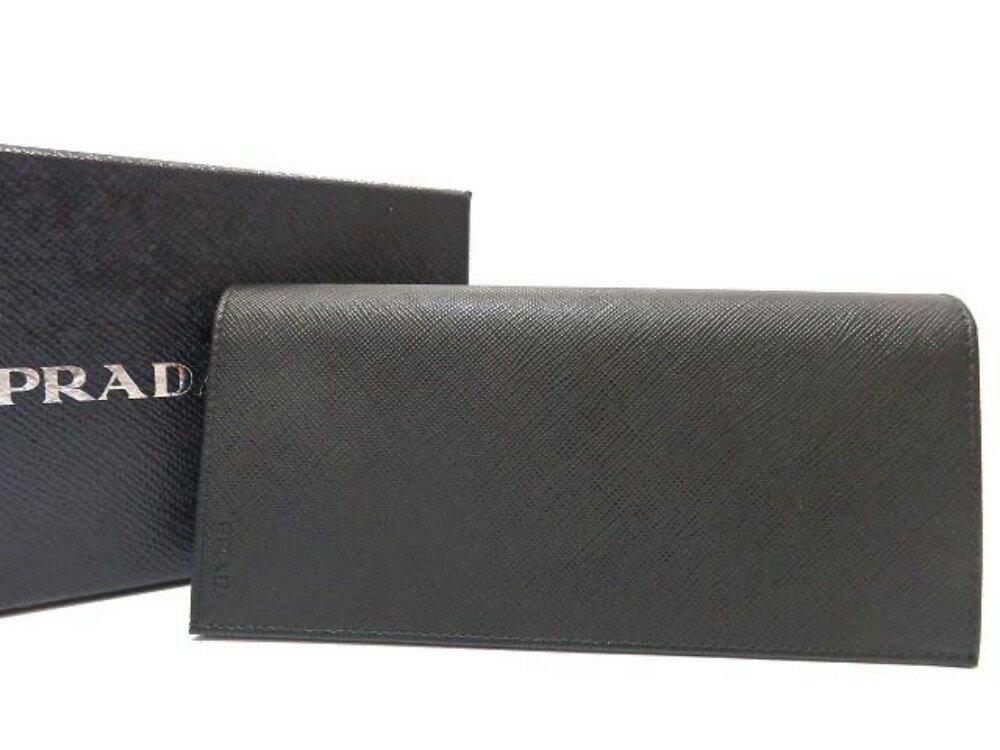 未使用 プラダ サフィアーノレザー 2つ折り長財布 2MV836 黒 ブラック 0308【中古】PRADA メンズ