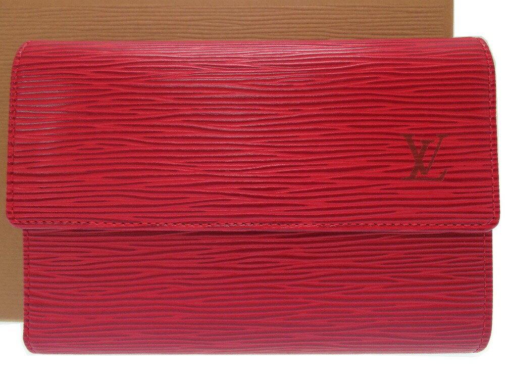 新品同様 ルイヴィトン ポルトトレゾール エティユ パピエ M63717 三つ折り財布 エピ カスティリアンレッド 0370 【中古】 LOUIS VUITTON