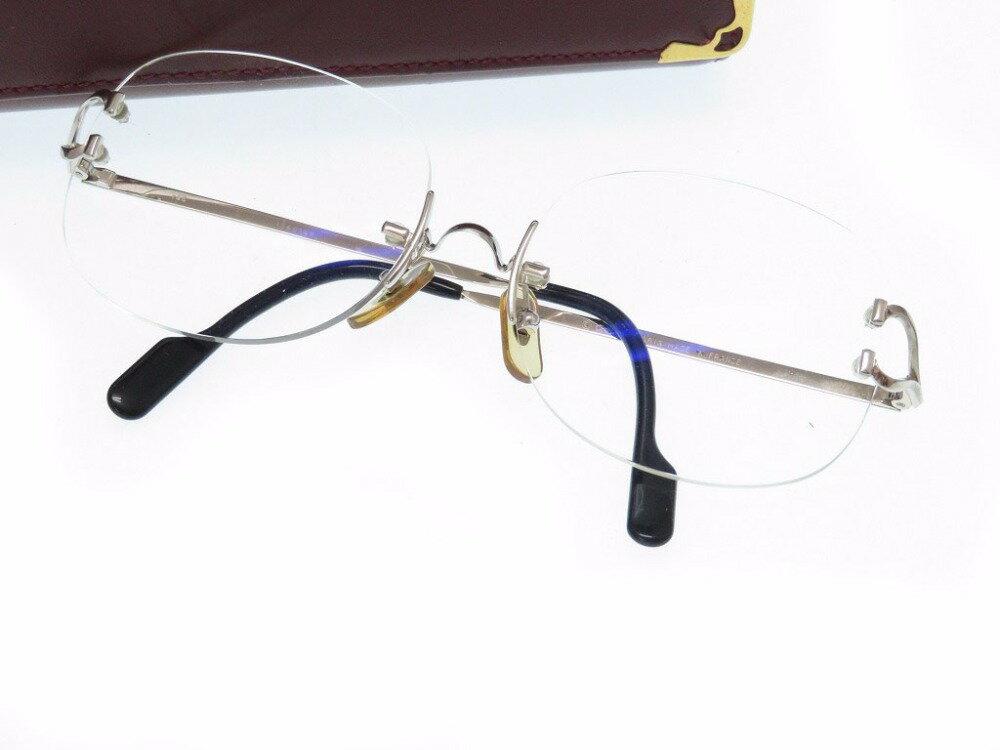 美品 カルティエ メガネ C2 眼鏡 シルバー アイウェア 0514【中古】CARTIER