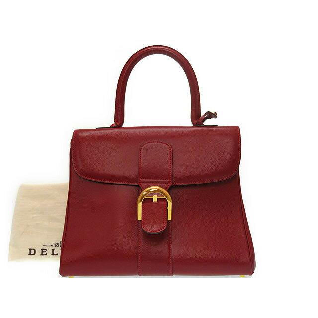 美品 デルボー ブリヨン 28 レザー レッド ハンドバッグ バッグ 赤 0572 【中古】 Delvaux