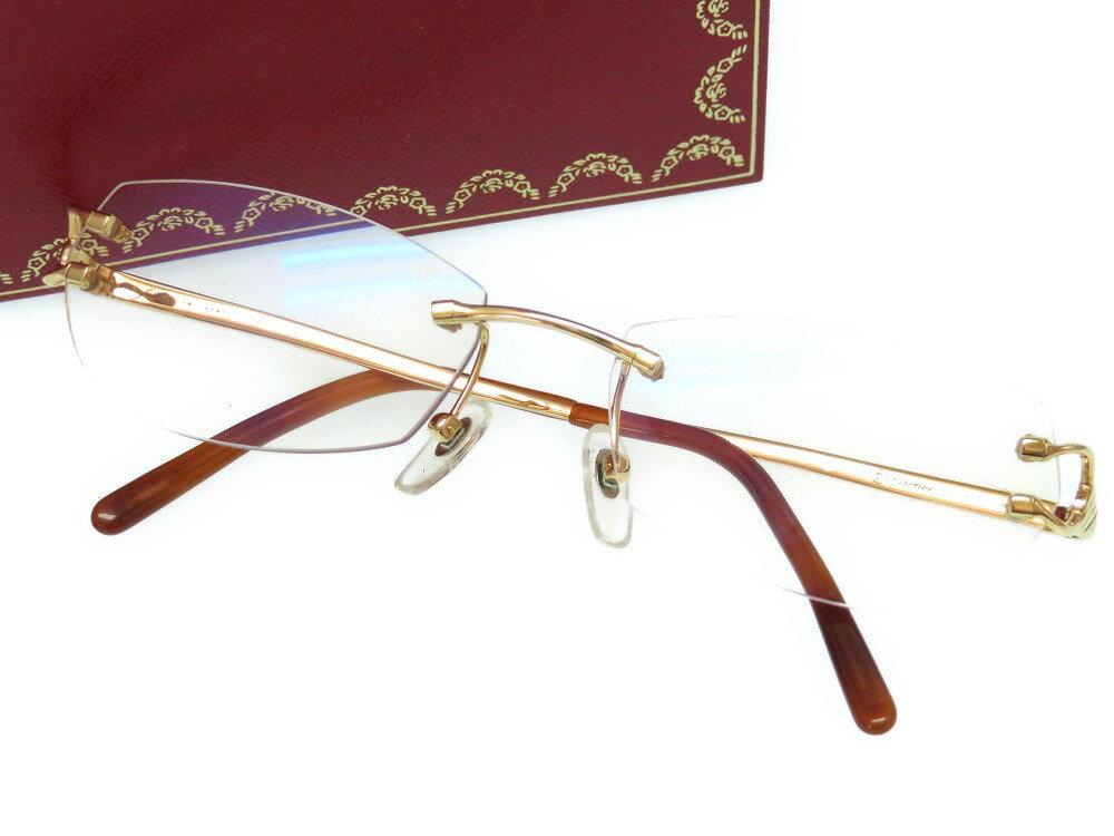 美品 カルティエ K18YG 750 眼鏡 メガネ C2 アイウェア 0004【中古】CARTIER