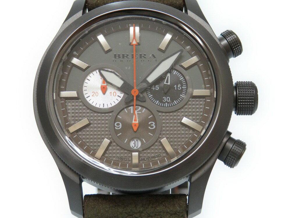 未使用品 ブレラオロロジ エテルノ クロノ BRET3C4304 腕時計 ステンレススチール/レザー カーキ 0335【中古】BRERA OROLOGI メンズ
