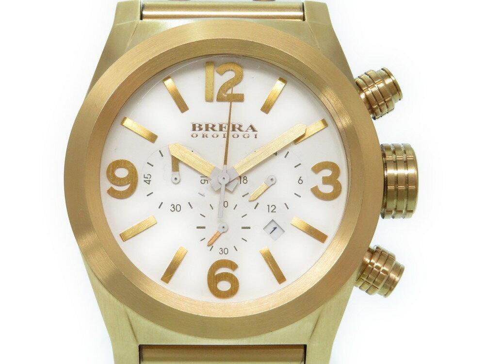 ブレラオロロジ エテルノ クロノ BRETC45 クオーツ 腕時計 ホワイト 0337【中古】BRERA OROLOGI メンズ