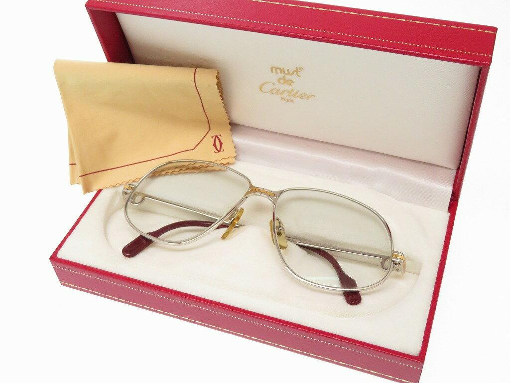 カルティエ ラニエール シルバー金具 銀縁 サングラス アイウエア 眼鏡フレーム 0625【中古】Cartier