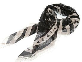 美品 クロムハーツ FOTI シルク スカーフ スカル 約100cm カレ ブラック 黒 0081【中古】CHROME HEARTS