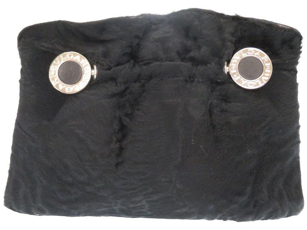 美品 ブルガリ ブルガリブルガリ クラッチバッグ ハラコ ブラック 黒 0184【中古】BVLGARI