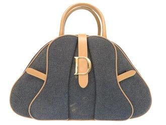 克裏斯琴迪奥D金屬零件粗斜紋布皮革藍色小寬底旅行皮包手提包包0450 Christian Dior