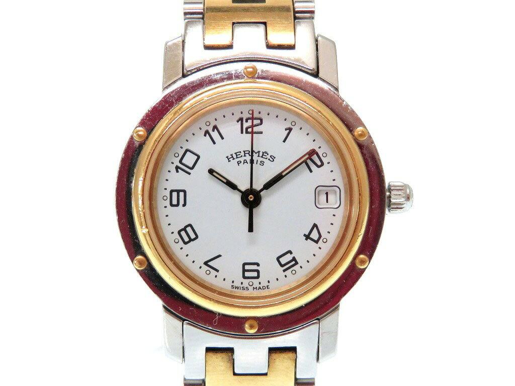 エルメス クリッパー CL4.220 コンビ クオーツ レディース 腕時計 白文字盤 0027【中古】 HERMES