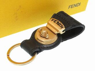美品fendizukka花纹钥匙圈包迷人黑色黑配饰0339FENDI