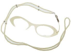 美品 フォクシー リーディンググラス 眼鏡ネックレス フェイクパール パールホワイト 0043【中古】FOXEY