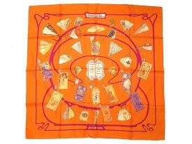 美品 エルメス カレ90 CARNETS DE BAL 舞踏会の手帳 シルク100% オレンジ スカーフ 0045 【中古】 HERMES