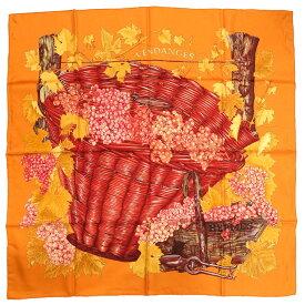 未使用 エルメス カレ90 ぶどうの収穫 VENDANGES シルク100% オレンジ スカーフ 0110 【中古】 HERMES