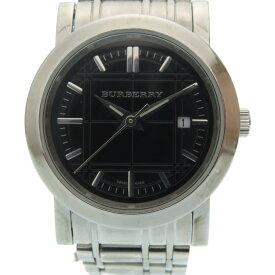 美品 バーバリー クオーツ 腕時計 ステンレススチール ブラック 黒文字盤 0026【中古】BURBERRY レディース
