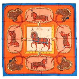 未使用 エルメス カレ90 GRANDAPPARAT 盛装の馬 シルク コバルト オレンジ スカーフ 0216 【中古】 HERMES