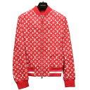 未使用 ルイヴィトン シュプリーム コラボ LV Leather Baseball Jacket レザー ボンバー ジャケット 赤 サイズ46 17AW…