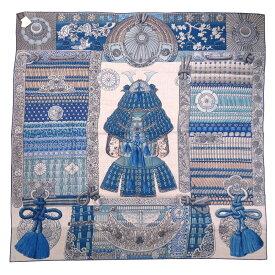未使用 エルメス カレ140 侍の鎧兜 Parures de Samourais カシミヤ シルク ブルー ストール スカーフ 青 0087 【中古】 HERMES