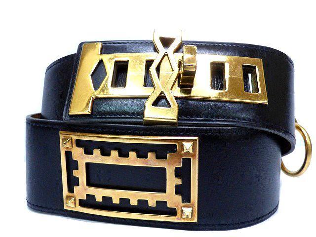 EエルメスHERMESメドール ベルト ボックスカーフ 70 黒 小物0173【中古】ヴィンテージ ゴールド金具