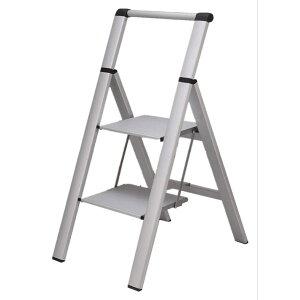 スタイリッシュ 脚立 アルミ 薄型踏み台 踏み台 折りたたみ おしゃれ 軽量 折りたたみ脚立 ステップ台 ステップラダー はしご 梯子 (アルミはしご 手すり2段)