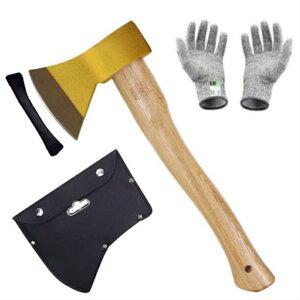 金の斧 手斧 大工斧保護 ケース付き 軍手付き 斧ャンプ用品 薪割り 鉈 ガーデン用手斧