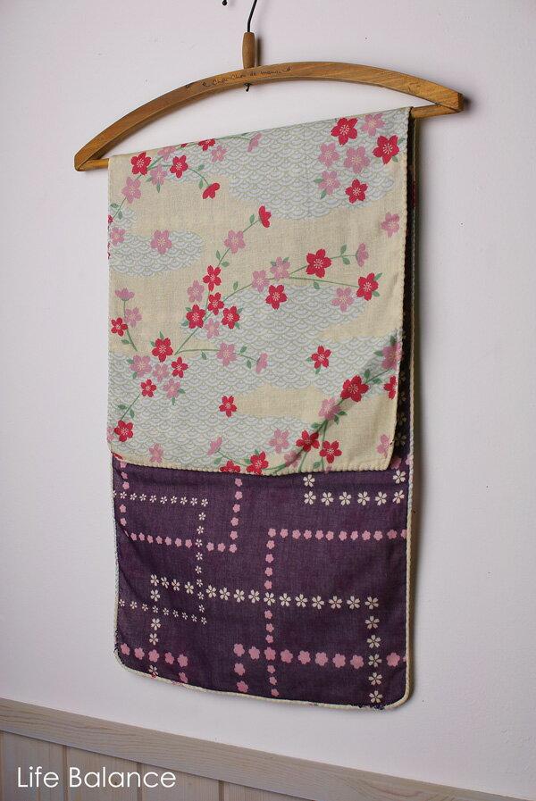 京都 くろちく 手ぬぐい41011852 両面ガーゼてぬぐい 青海波に桜