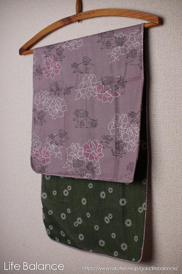 京都 くろちく 手ぬぐい 両面ガーゼてぬぐい 唐獅子牡丹 41702802