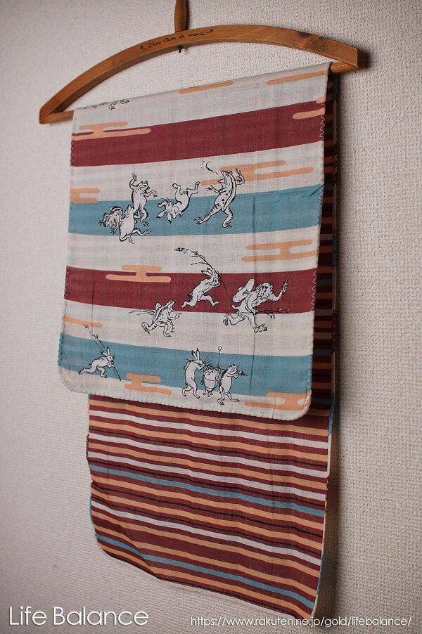 京都 くろちく 手ぬぐい 両面ガーゼてぬぐい 鳥獣戯画 41702803