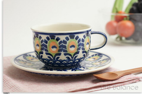 ドイツ ブンツラウワー陶器ハイゼ陶器 カップ&ソーサー 0.2L (ピーコックイエロー) h017