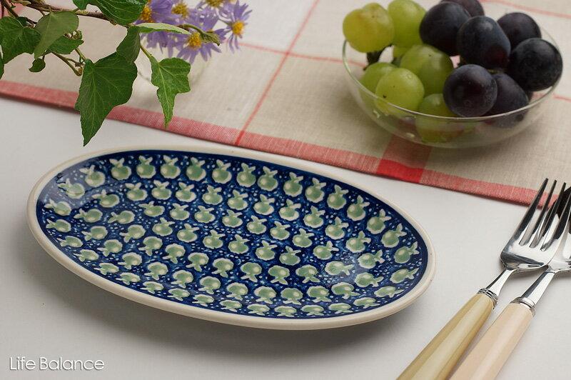 ドイツ ブンツラウワー陶器ハイゼ陶器 フィッシュプレート (アップル)
