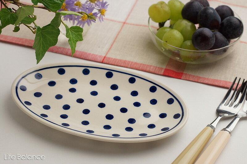 ドイツ ブンツラウワー陶器ハイゼ陶器 フィッシュプレート (ブルードット)