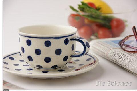 ドイツ ブンツラウワー陶器ハイゼ陶器 カップ&ソーサー 0.2L (ブルードット) h017