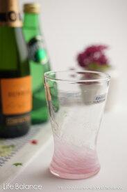 琉球ガラス グラス【泉川 寛勇 やんばるガラス工芸館】海蛍 アイスグラス ピンク(748-0011)