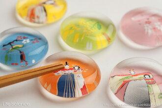 薬師窯玻璃箸置立雛・梅9421