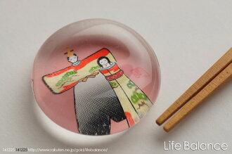 薬師窯玻璃箸置立雛・松9406