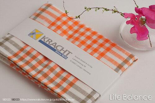 Kracht クラークト/ドイツ キッチンクロスドルトムント チェックA (オレンジ)4562191981538