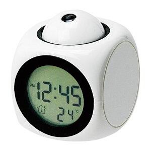 ●トーキングクロック 048043 白[時計 置時計 インテリア アラーム スヌーズ チャイム 温度計 プロジェクターライト機能 LED]