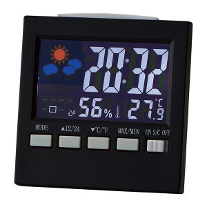カラーウェザークロック 6140[時計 置時計 インテリア クロック 時計 アラーム カレンダー 温度計 湿度計 天気予報 バックライト 音 振動センサー プレゼント 贈り物 御礼 御祝い 記念品 ギ