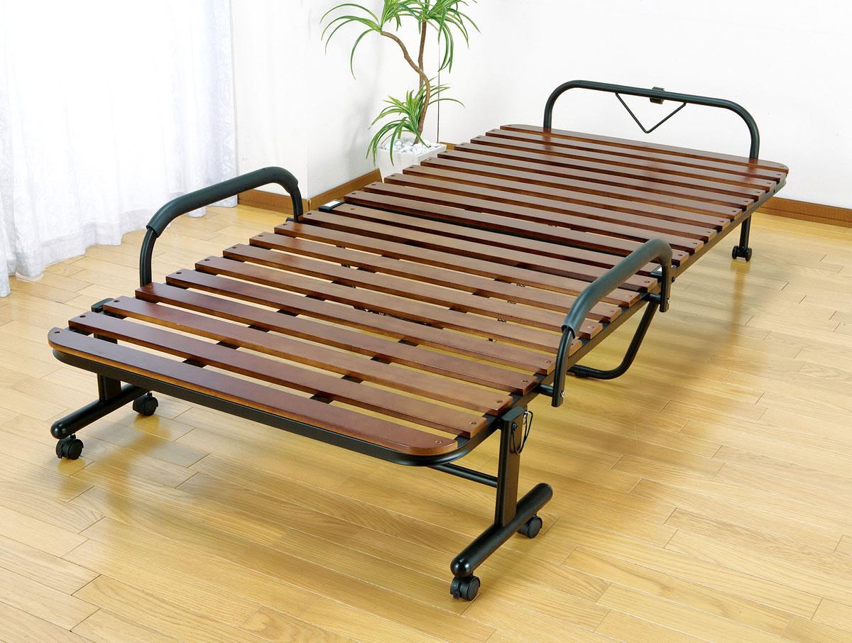 すのこベッド 折りたたみ セミダブル すのこ マット ベッド 桐製 木製 折りたたみスノコベッド ブラウン キャスター付き