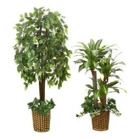 人工観葉植物 おしゃれ 大型 2本セット フェイクグリーン 光触媒 インテリアグリーン ベンジャミン 幸福の木 ドラセナ