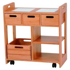 代金引換不可 天然木使用 木製 キッチンワゴン 幅60cm 引き出し付き キャスター付き