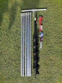 井戸掘り【説明書付き】キット 経80mmオーガ 全長6m25cm (延長追加可)軽量鋼管製