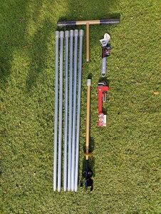 井戸掘り【説明書付き】 経75mmオーガ 全長6m20cm (延長追加可)軽量鋼管製
